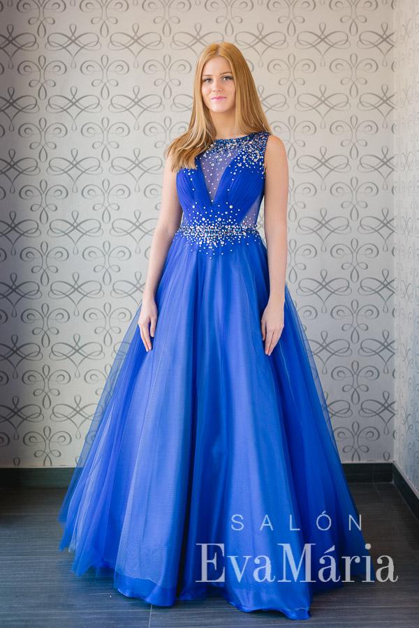 Modré luxusné plesové šaty so sieťkou na chrbte zdobené kamienkami