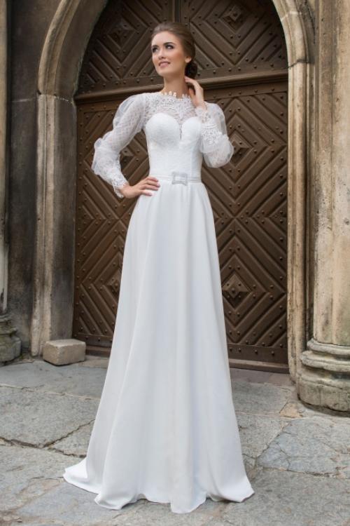 Nevšedné svadobné šaty s dlhým rukávom 2016