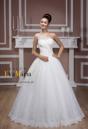 Svadobné šaty s čipkou s veľkou sukňou na jedno rameno