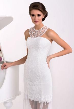 Nádherné extravagantné svadobné šaty so šperkovým výstrihom