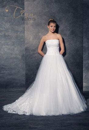 Princeznovské svadobné šaty s rovným výstrihom