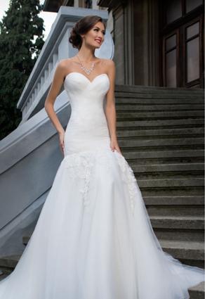 Svadobné šaty so srdcovým výstrihom strih morská panna