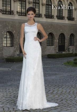 Úzke svadobné šaty s lopatkovým výstrihom